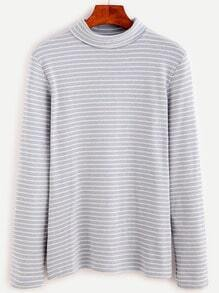 Ash Blue Striped Turtle Neck T-shirt