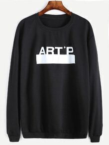 Black Letter Print Loose Sweatshirt