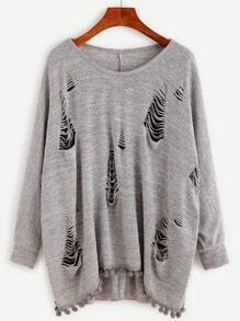 Grey Laddering Cutout Pom Pom Trim Loose Sweatshirt
