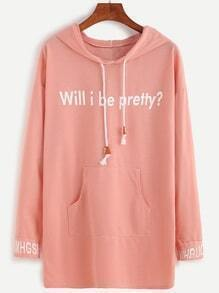 Pink Letter Print Pocket Front Hooded Sweatshirt