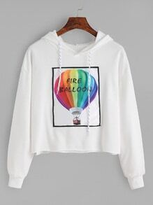 White Fire Balloon Print Drop Shoulder Hooded Sweatshirt