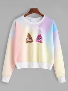 Tie Dye Cute Print Drop Shoulder Long Sleeve Sweatshirt