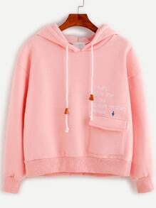 Pink Letter Embroidery Pocket Front Hooded Sweatshirt