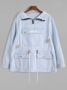 Blue Pocket Front Drawstring Waist Denim Hooded Sweatshirt