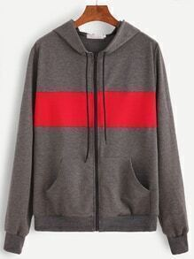 Grey Pocket Front Zip Up Hooded Sweatshirt