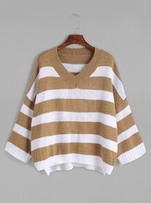 Striped V Neck Drop Shoulder Loose Sweater