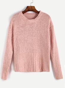 Pink Round Neck Ribbed Knit Sweater