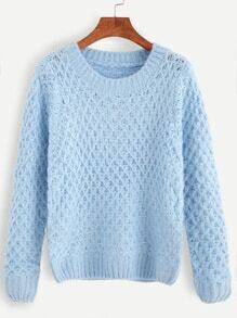 Blue Round Neck Waffle Knit Sweater