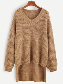 Khaki V Neck Drop Shoulder Dip Hem Textured Sweater