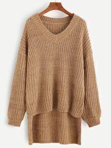 Khaki V Neck Drop Shoulder Dip Hem Textured Sweater