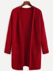 Pocket Open Front Drop Shoulder Sweater