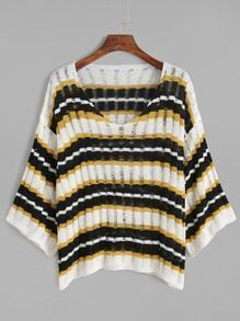 Striped V Neck Ribbed Knit Loose Sweater