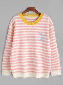 Pink Striped Contrast Trim Letter Front Sweater