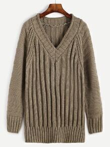 V Neck Ribbed Knit Long Sweater