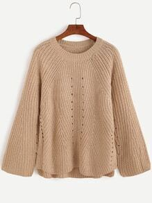 Round Neck Hollow Out Loose Dip Hem Sweater