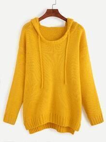 Yellow Drop Shoulder Dip Hem Hooded Sweater