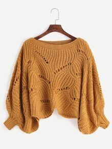 Khaki Boat Neck Lantern Sleeve Crop Sweater