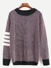 Round Neck Striped Contrast Trim Sweater