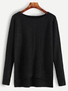 Black Raglan Sleeve Dip Hem Sweater