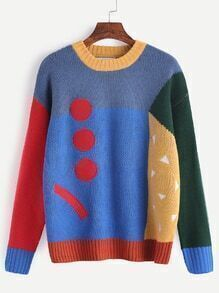 Multicolor Patch Front Drop Shoulder Sweater