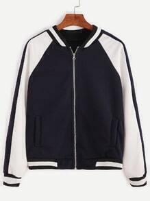 Navy Striped Trim Zip Up Jacket