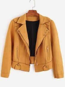 Yellow Faux Suede Epaulet Studded Zip Up Jacket