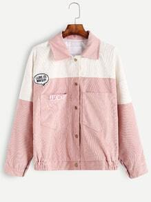 Pink Embroidery Patch Hidded Button Jacket