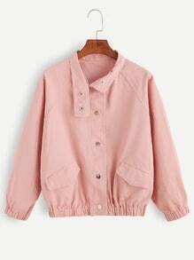 Pink Pocket Front Raglan Sleeve Jacket