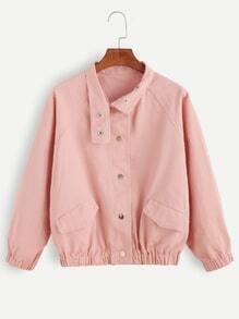 Pink Pocket Front Raglan Sleeve Jacket