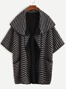 Striped Shawl Collar Elbow Sleeve Cape Coat
