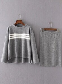 Grey Striped High Low Sweater With Skirt