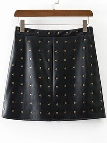 Black Studded Embellished PU A Line Skirt