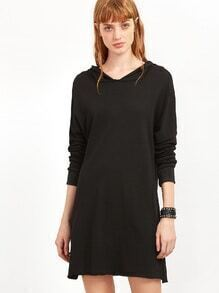 Black Slit Side Raw Hem Hooded Sweatshirt Dress