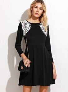 Contrast Crochet Trim A-Line Dress