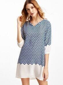 Chevron Pattern Elbow Sleeve Shift Dress