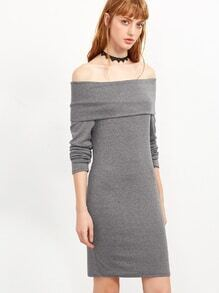 Grey Off The Shoulder Foldover Dress