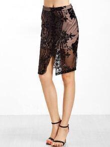 Black Embroidered Mesh Overlay Sequin Trim Skirt