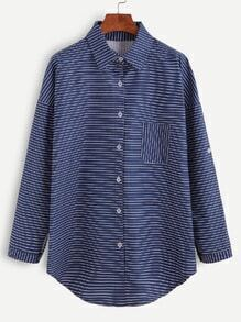 Navy Striped Drop Shoulder Shirt