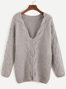 Grey V Neck Cable Knit Sweater