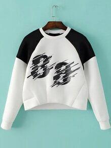 White Color Block Number Print Sweatshirt