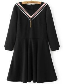 Black Chevron Pattern A Line Dress With Tassel