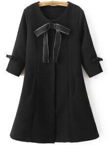 Black Bow Embellished Hidden Button Slim Coat