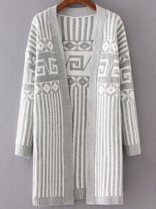 Grey Striped Drop Shoulder Long Cardigan
