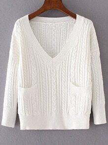 White Cable Knit V Neck Pocket Sweater