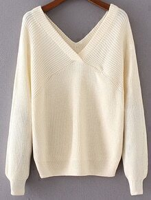 Beige Double V Neck Loose Sweater