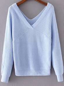 Blue Double V Neck Loose Sweater