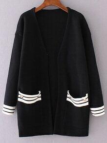Black Striped Trim Front Pocket Cardigan