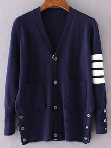 Navy Striped Sleeve Button Up Cardigan