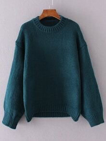 Dark Green Crew Neck Drop Shoulder Sweater