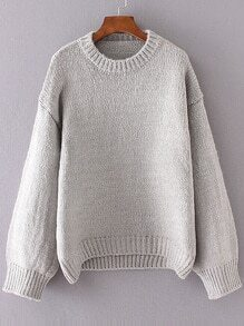 Grey Crew Neck Drop Shoulder Sweater
